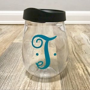 Monogram Plastic Wine Glass with Lid